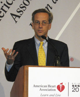 Dr. Christopher Cannon, the leader of a study on an experimental Merck cholesterol drug, speaks at an American Heart Association conference in Chicago Wednesday. (AP Photo/American Heart Association)