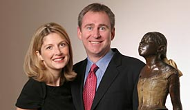 "Ken and Anne Griffin next to their Degas bronze, ""Little Dancer."" (Andrew Campbell Photography)"