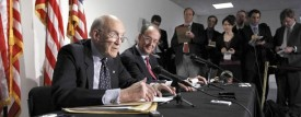 Debt Commission co-chairmen, Erskine Bowles right, and former Wyoming Sen. Alan Simpson, take part in a news conference on Capitol Hill in Washington Tuesday. (AP Photo/Alex Brandon)