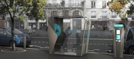 A visualization of a proposed electric car station in Paris. (AP)