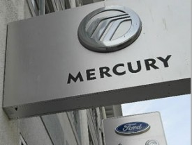 The Mercury logo on a sign outside of a San Francisco Ford Lincoln Mercury in June 2010. (Justin Sullivan/Getty Images)
