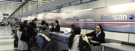 A ticker counter at American Airlines' terminal at O'Hare, Jan. 17, 2011 (Phil Velasquez/Chicago Tribune)