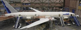 A Boeing 787 Dreamliner being manufactured for All Nippon Airways, Feb. 14, 2011. (Reuters/Anthony Bolante)