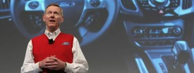Alan Mulally, CEO of Ford Motor Co., presenting the new Ford Sync system in Germany earlier this month. (Gallup/Getty)